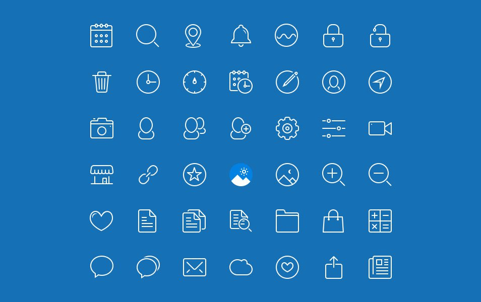 45 Blue Drops - Free Line Icon Set
