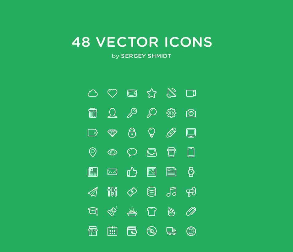 48 Free Vector Line Icon Set