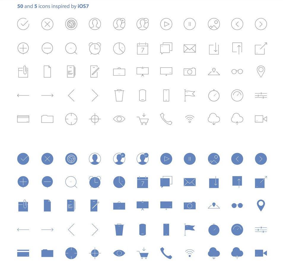 50 & 5 icons set