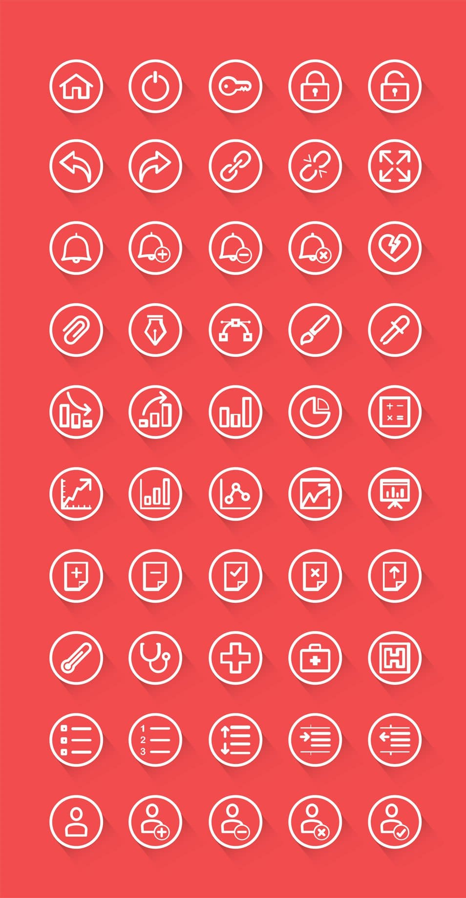 50 Rounded Outline Icons