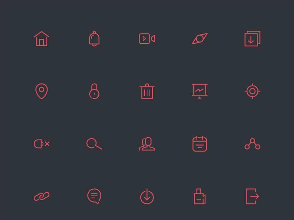65 Free Line Icon Set