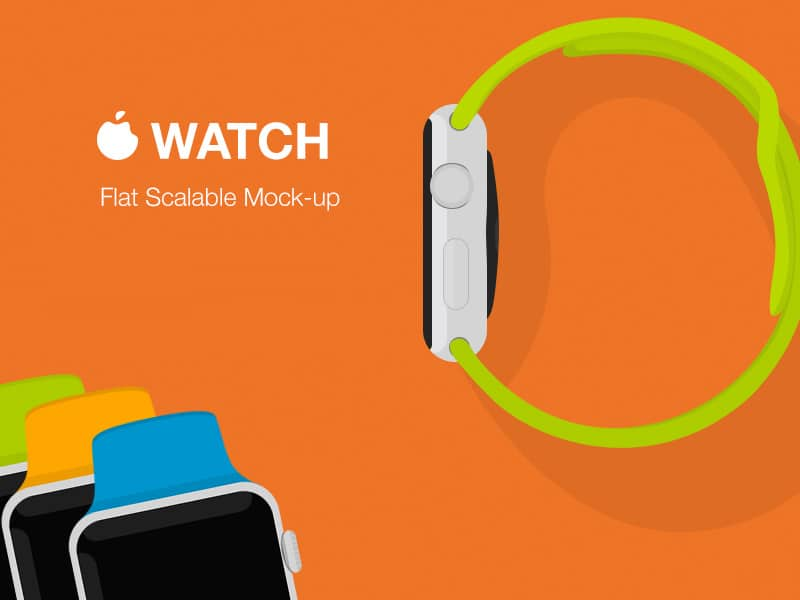 Apple Watch Flat Mockup Free PSD