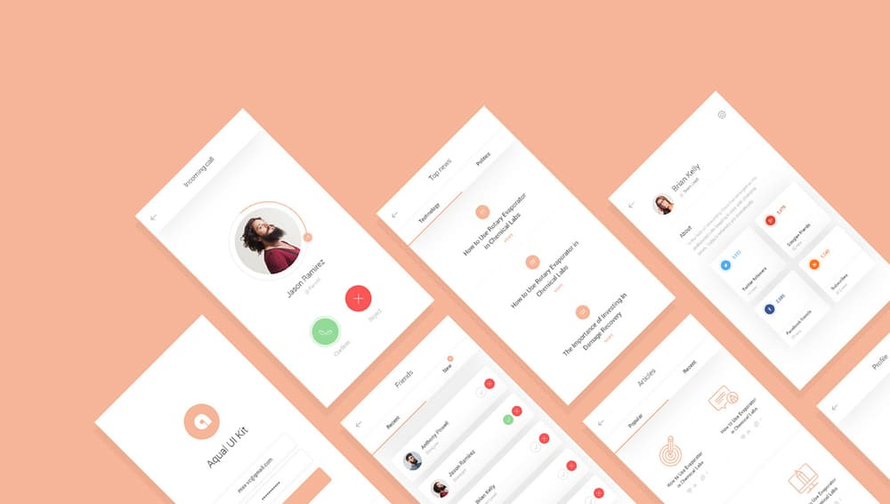 Aqual UI Kit PSD for Social Networking Apps