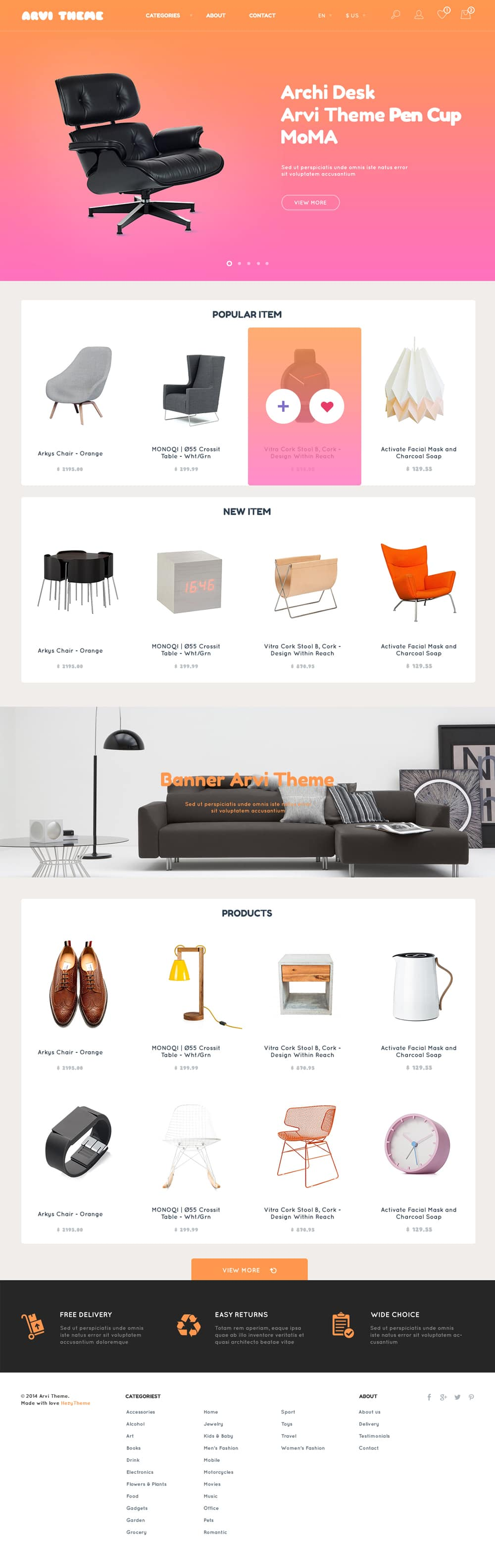Arvi Free Ecommerce Website Template PSD