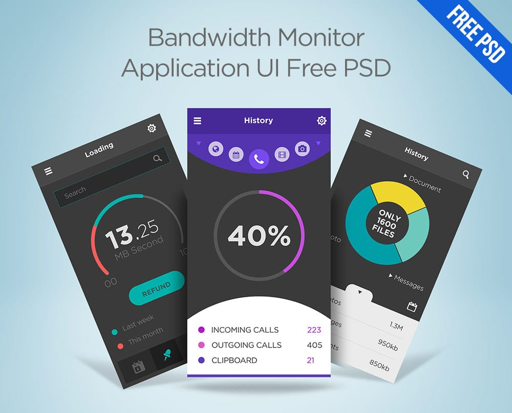 Bandwidth Monitor Application UI PSD