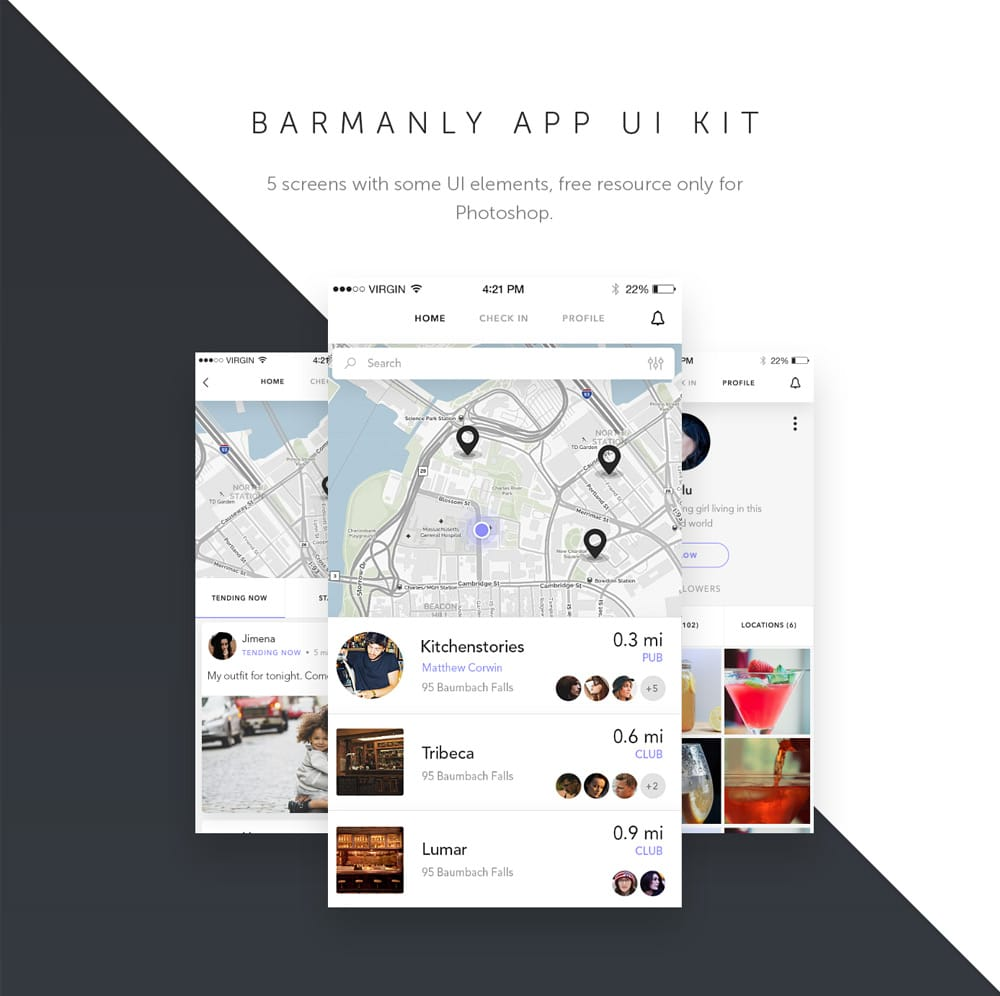 Barmanly App UI Kit PSD