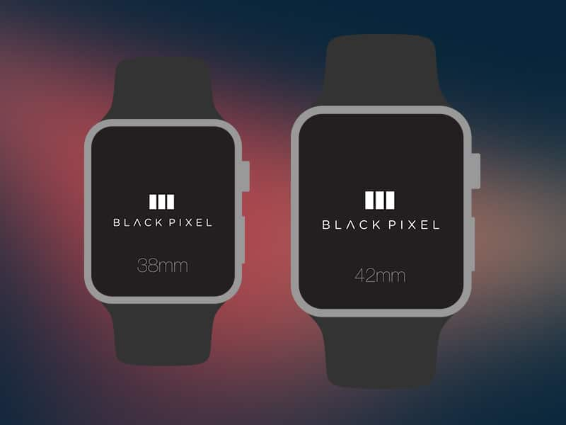 Black Pixel Apple Watch PSD