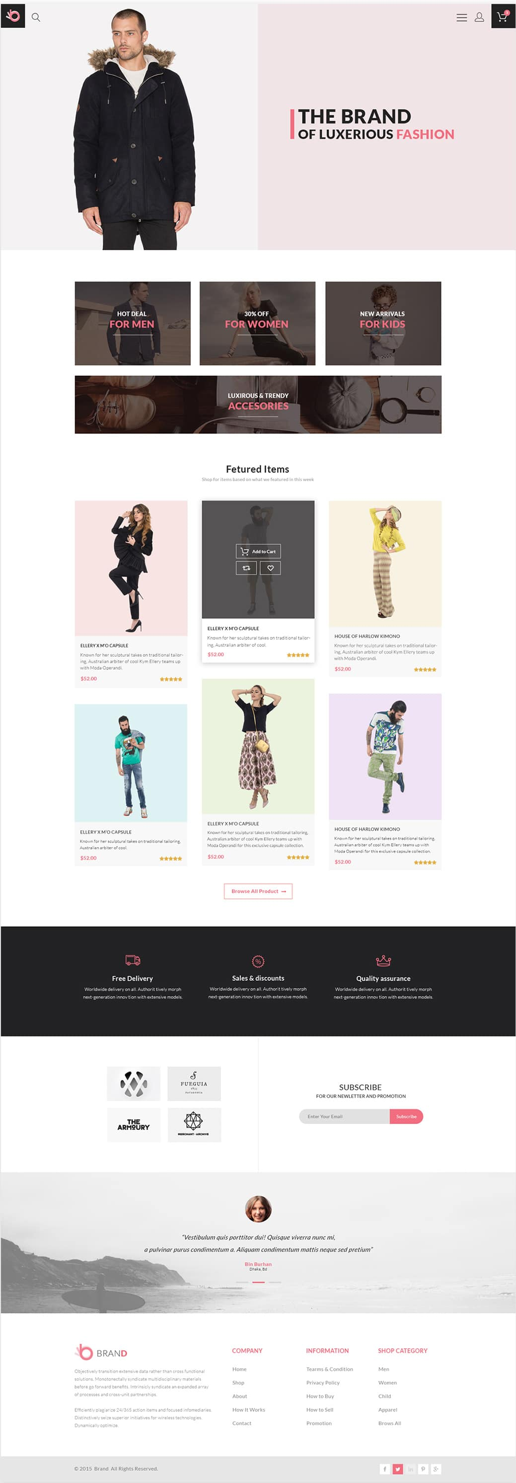Brand - Free Fashion Store Template PSD