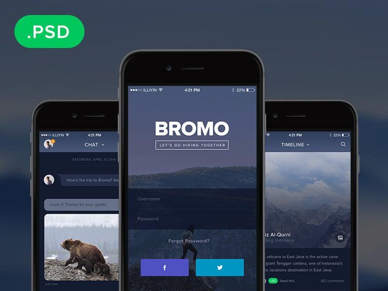Bromo – Free Social App Template PSD