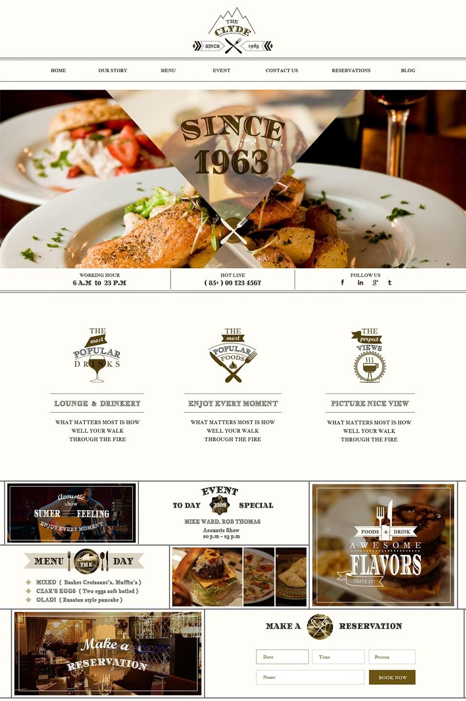 CLYDE - Free Restaurant PSD