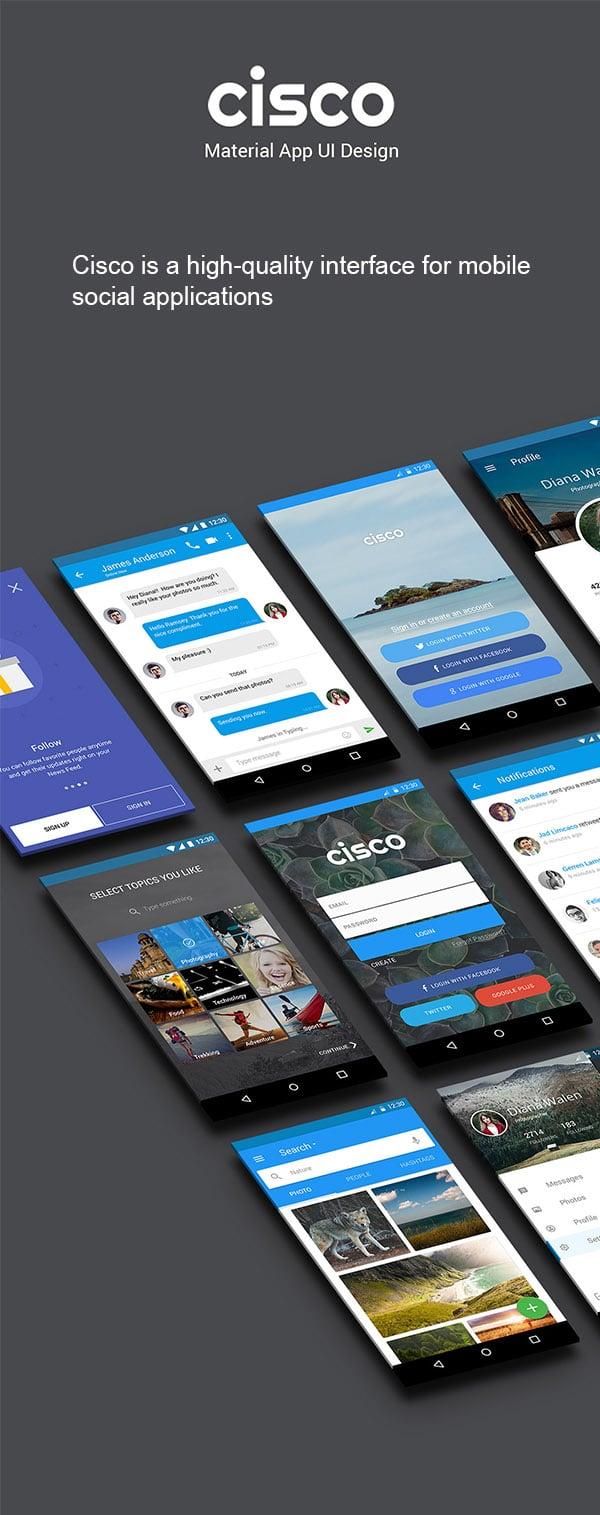 Cisco Material App UI PSD