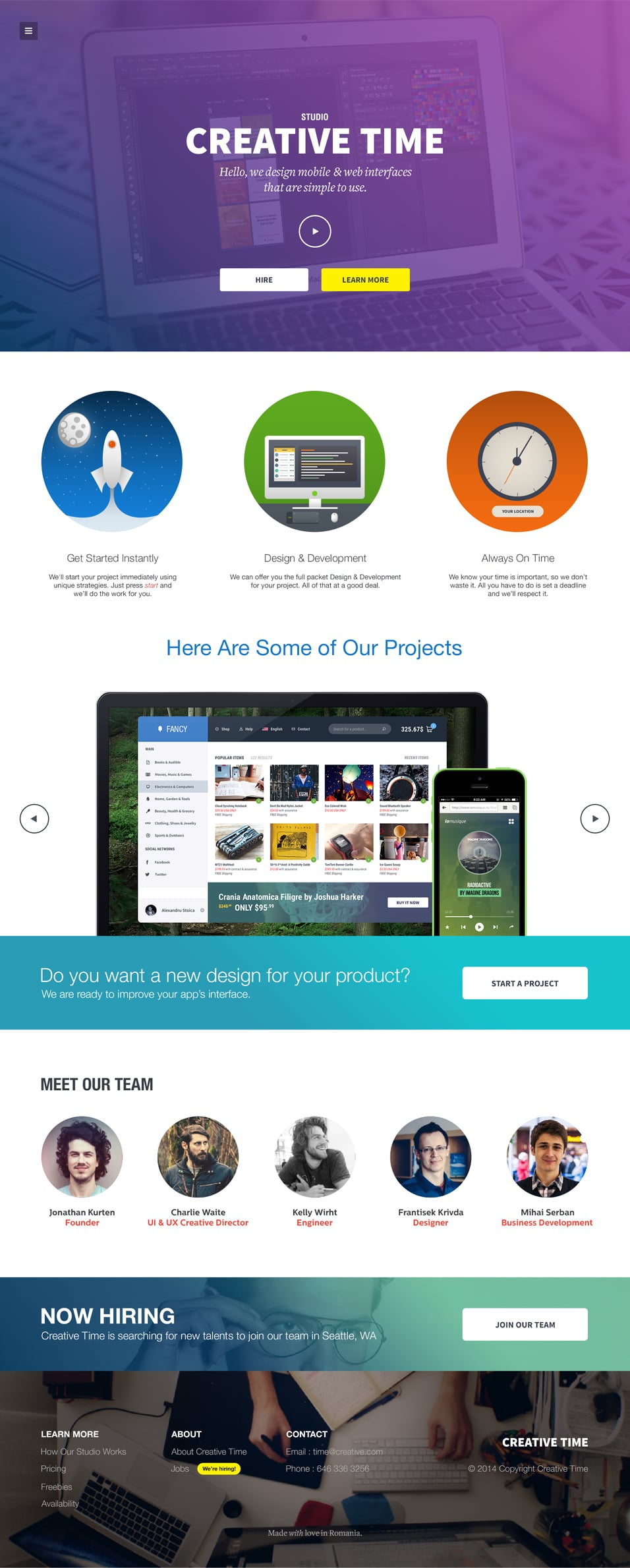 Creative Time Responsive Template PSD