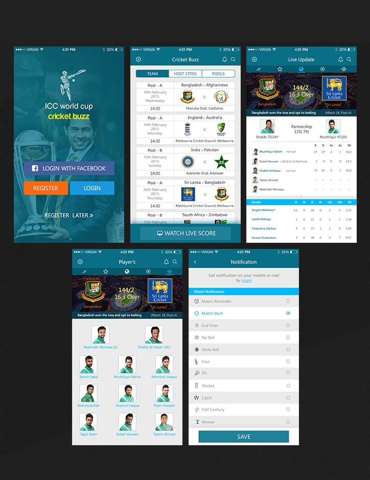 Cricket Live Update iOS APP UI