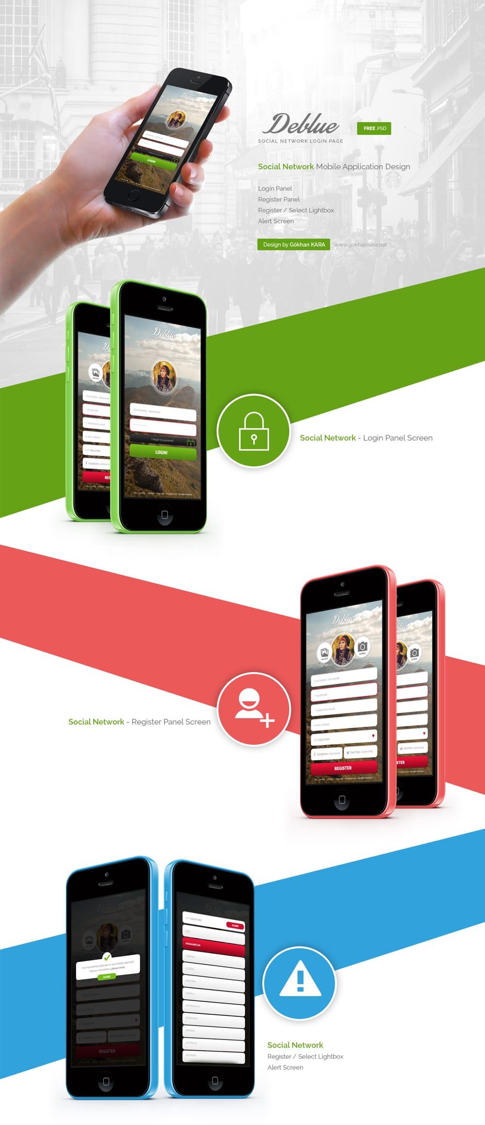 Deblue – Social Network App Design PSD