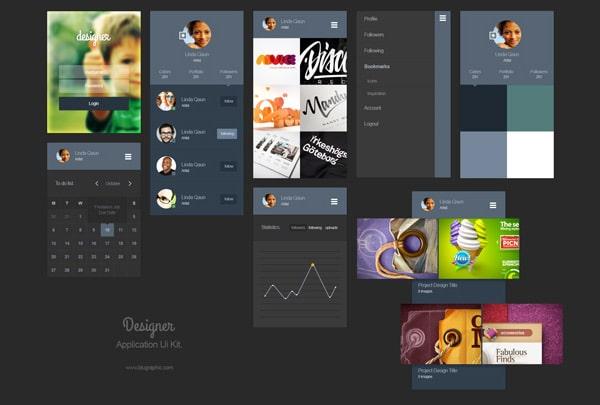 Designer Portfolio App Ui Kit PSD