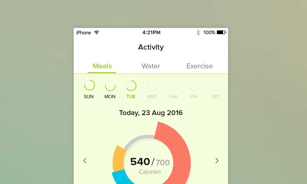 Diet Planner App UI PSD