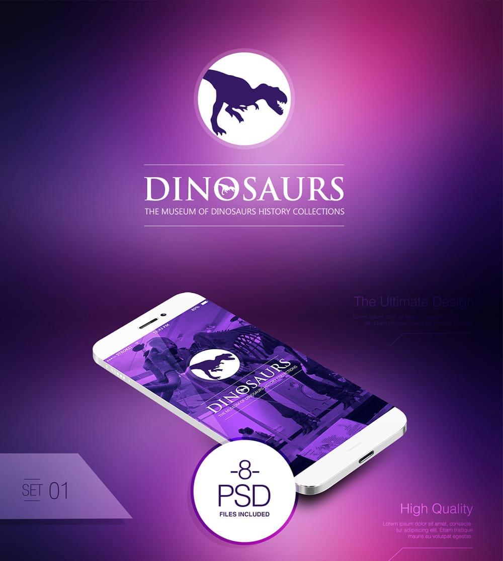 Dinosaurs Museum App UI PSD