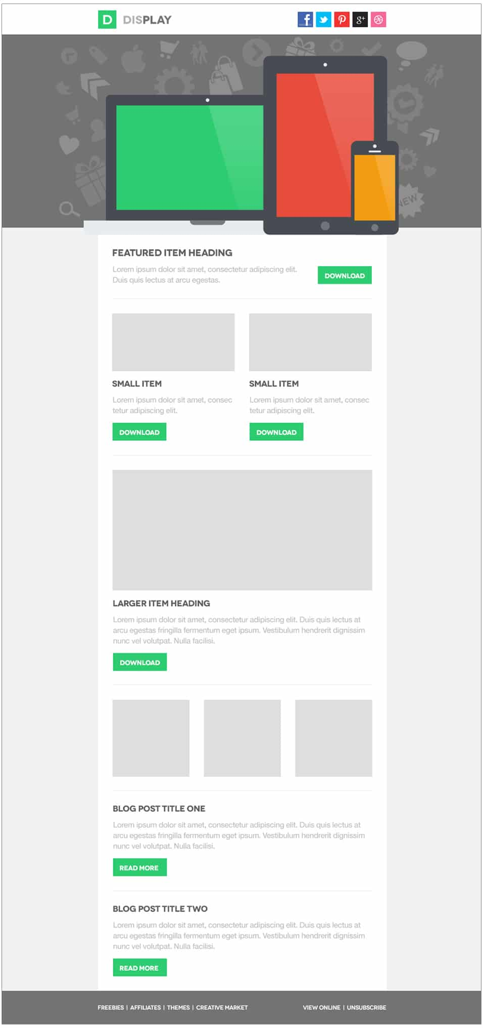 Display Email Template Free PSD