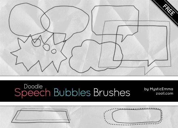 Doodle Speech Bubbles Photoshop Brushes