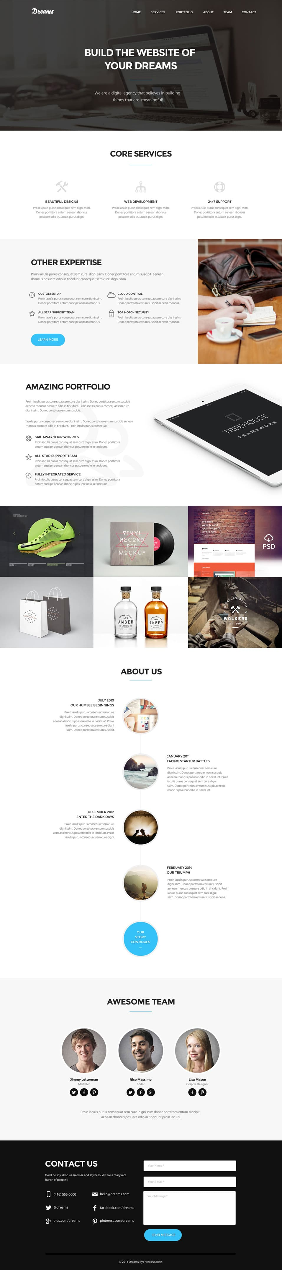 Dreams Free One Page Web Template