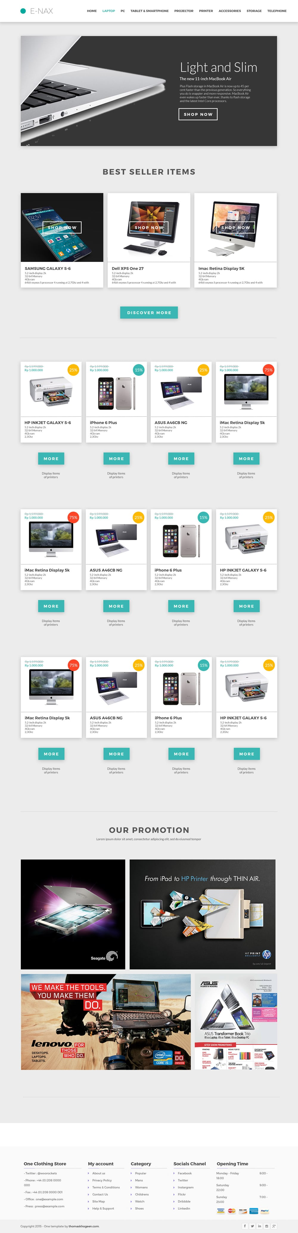 E-NAX Free E-commerce Website Template PSD