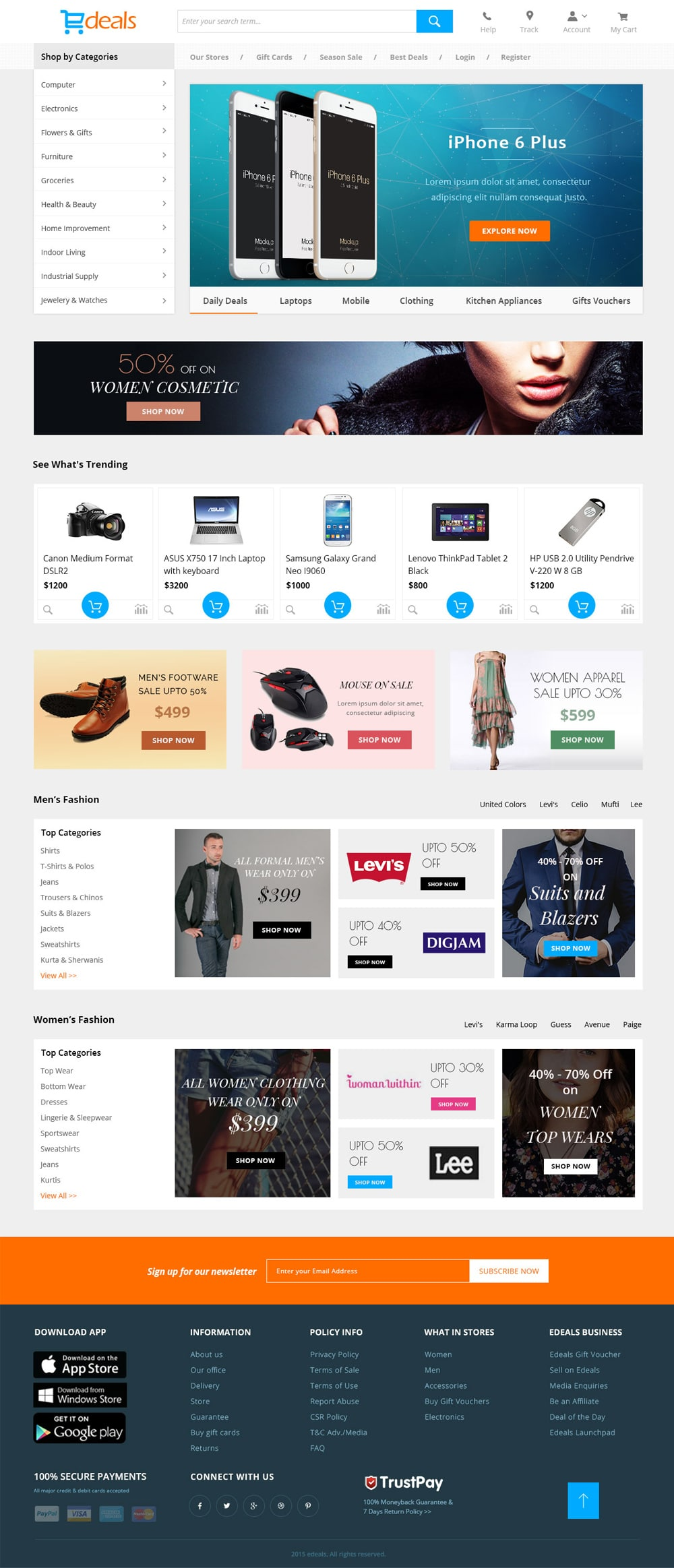 Edeals - Online Shopping Template PSD
