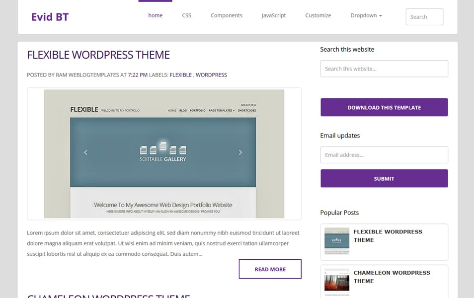 EvidBT Responsive Personal Blog Blogger Template