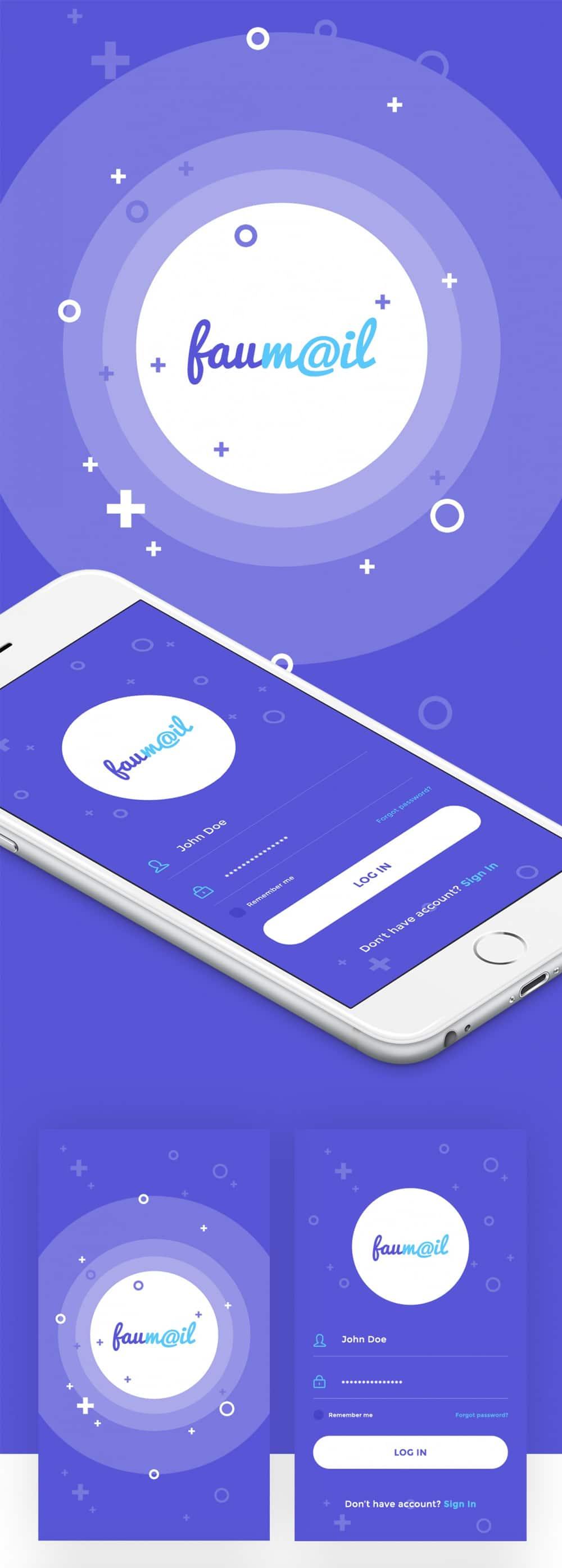Faumail Mobile App UI PSD