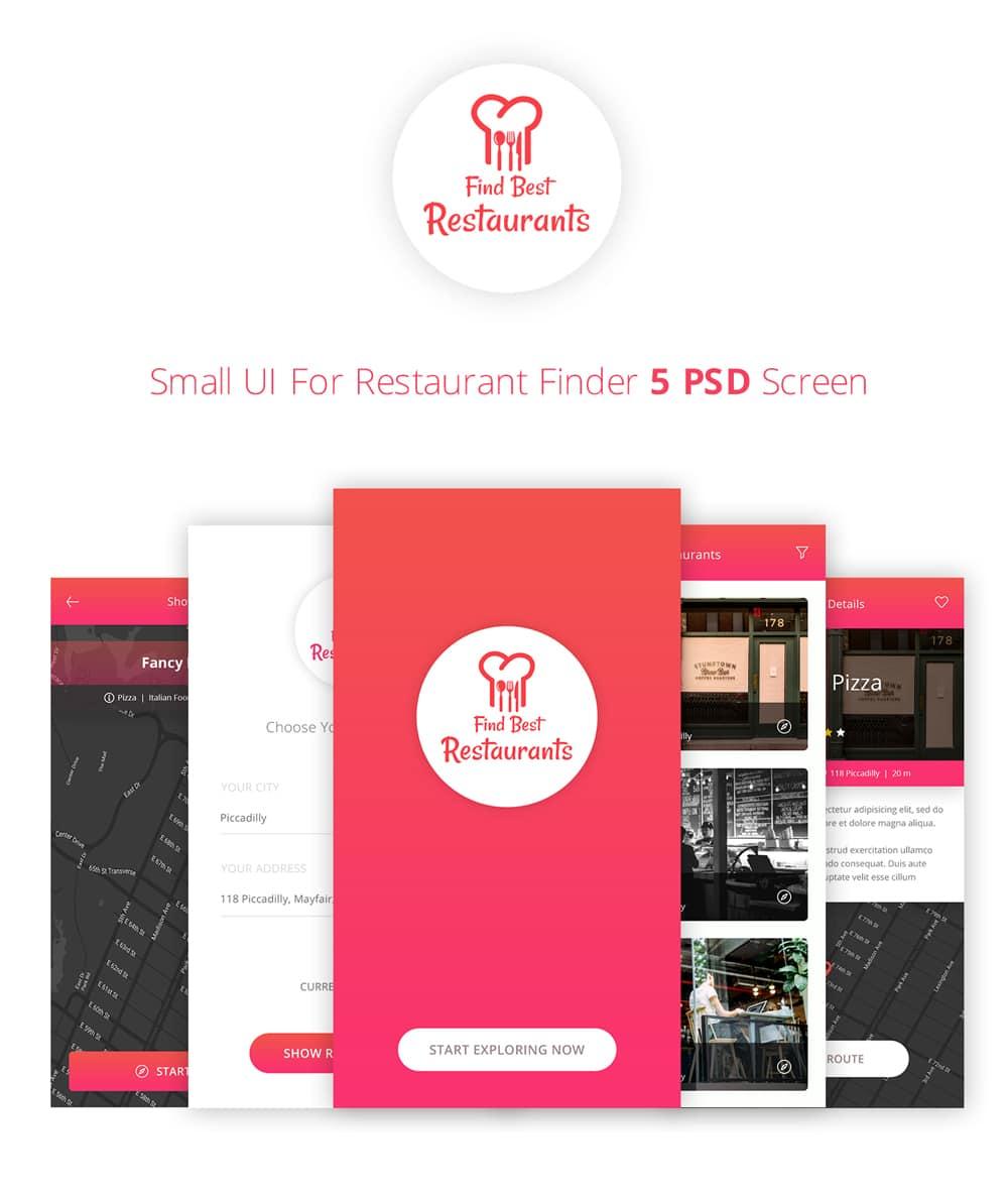 Find Restaurant App UI PSD