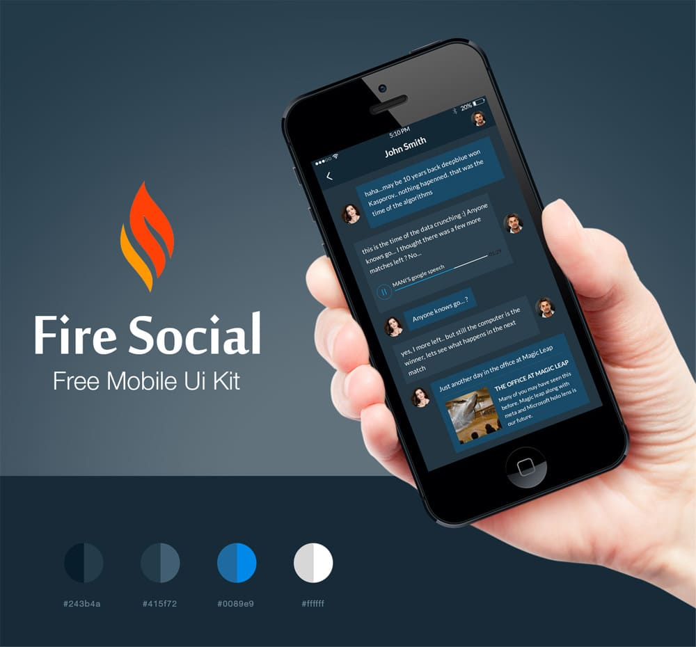 Fire Social App UI Kit PSD