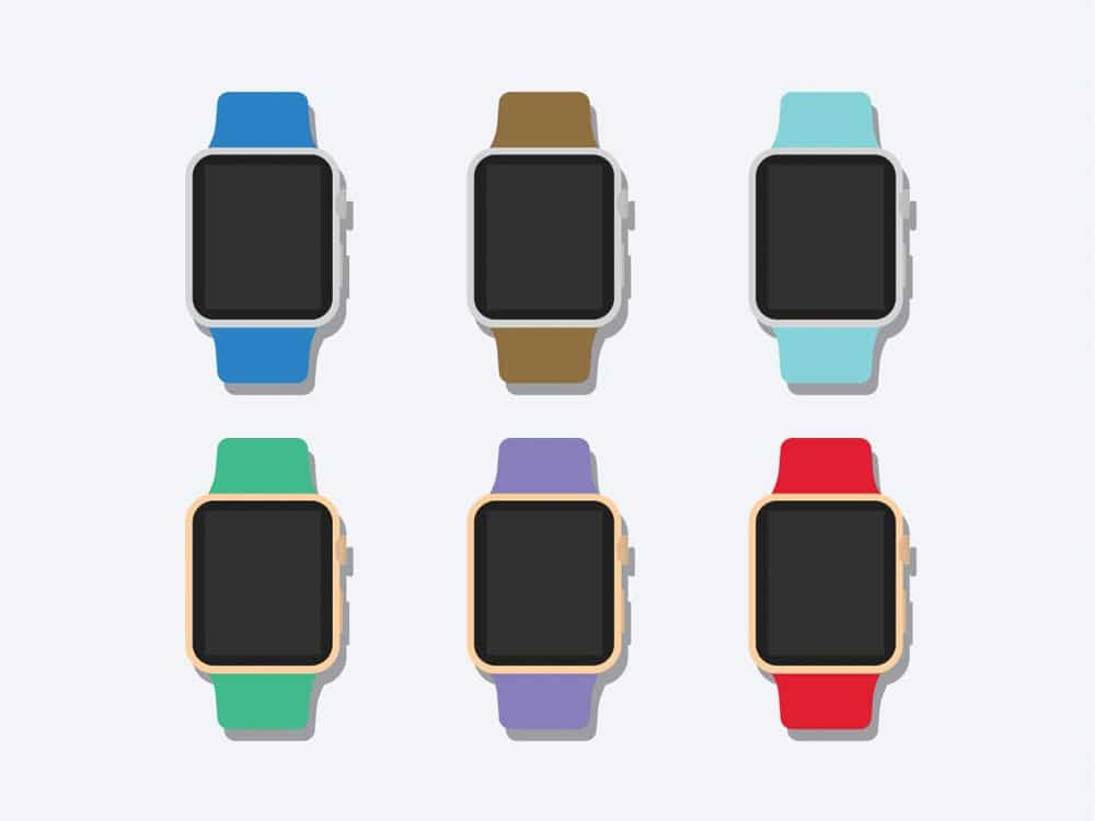 Flat 2D Apple Watch Mockup PSD