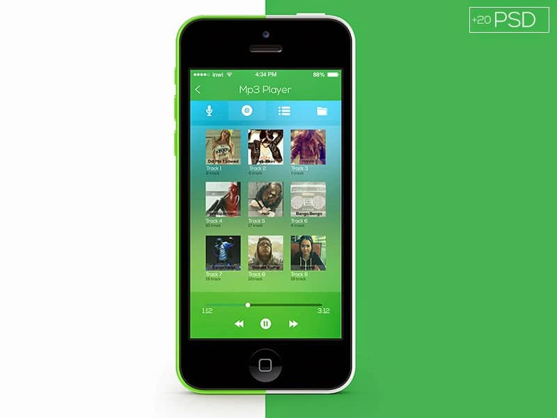 Flat App UI Free PSD
