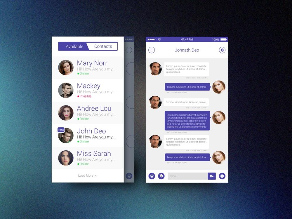 Flat Chat App UI PSD