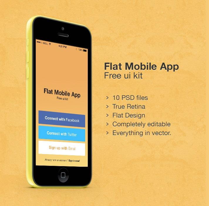 Flat Mobile App UI Kit PSD