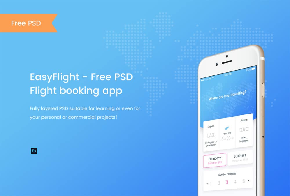 Flight Booking App UI PSD