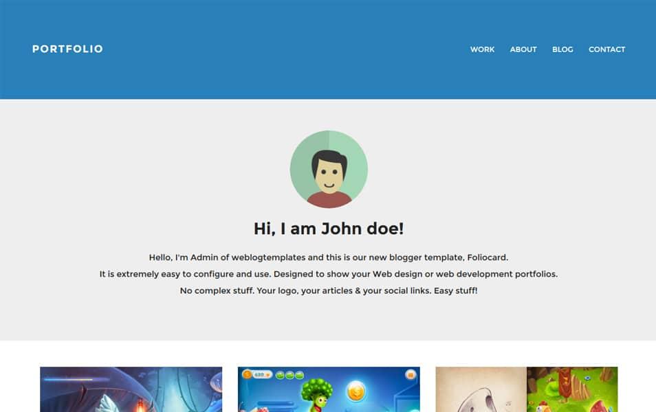Foliocard Responsive Portfolio Blogger Template