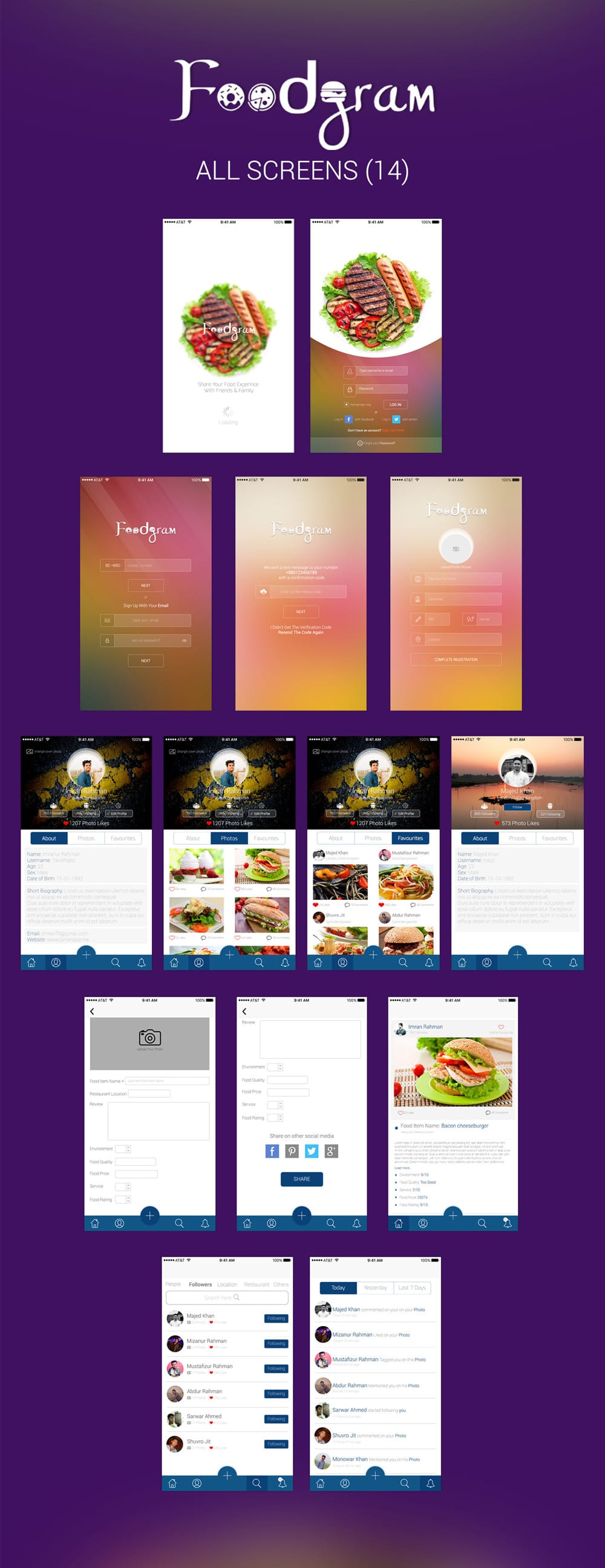 Foodgram - Free App UI PSD