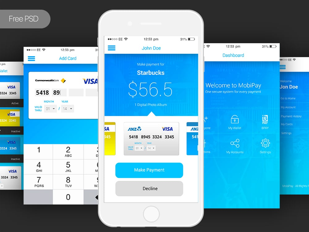 Free Bank Payment Mobile App UI PSD