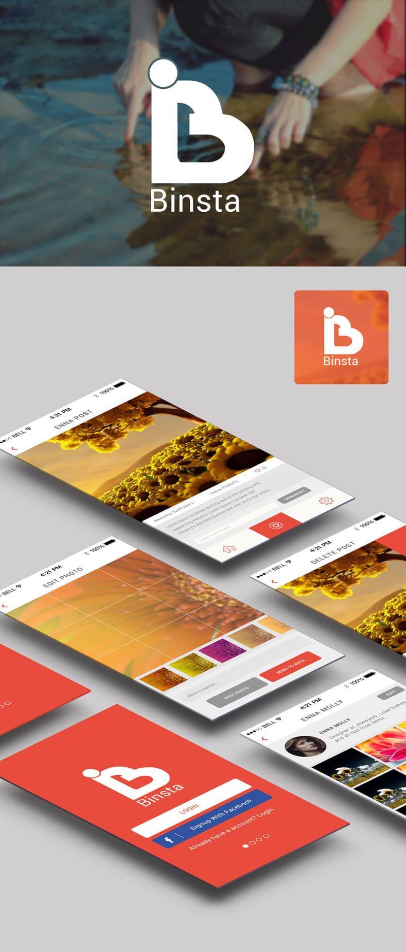 Free Binsta App UI PSD