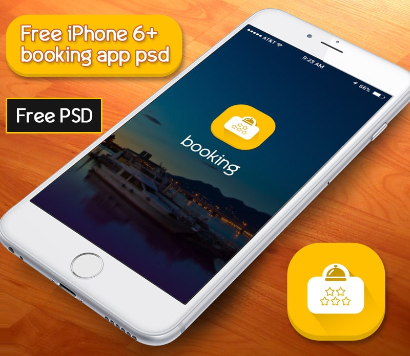 Free Booking App PSD According to iPhone 6+