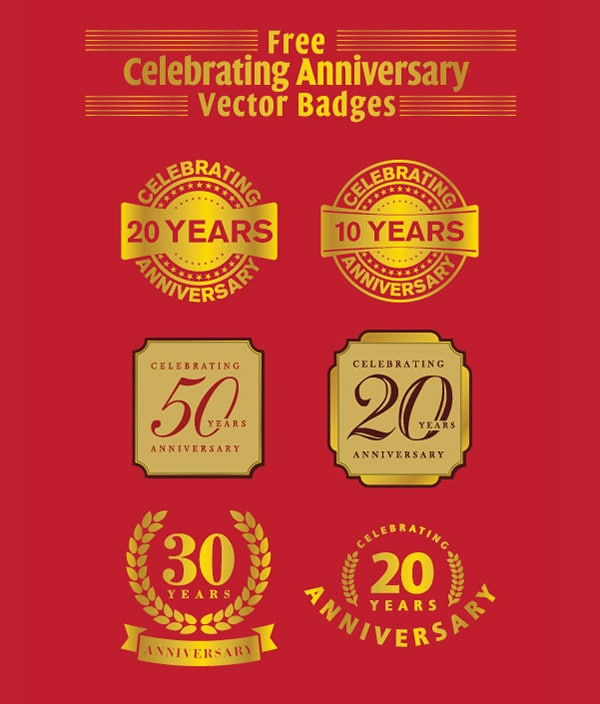 Free Celebrating Anniversary Vector Badges