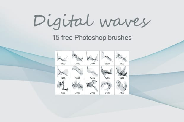 Free Digital Waves Photoshop Brushes