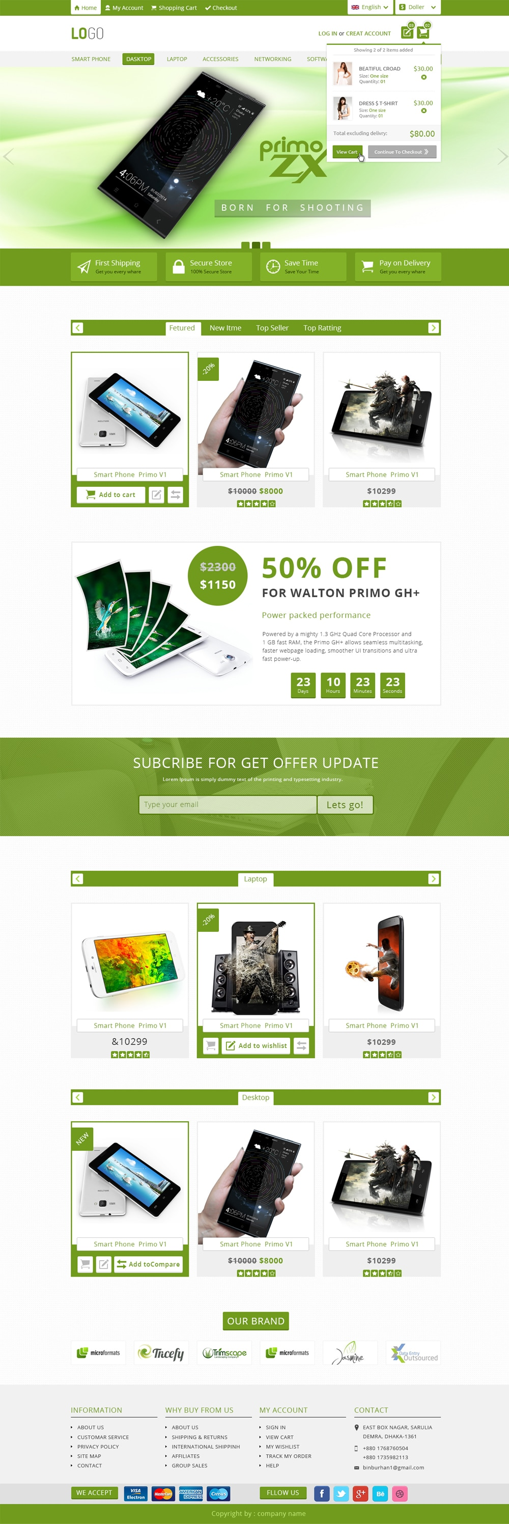 Free E commerce Web Template PSD