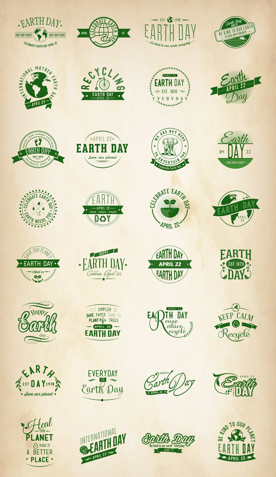 Free Earth Day Vector Badges