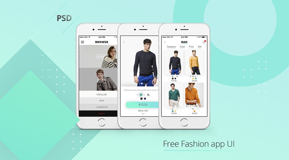 Free Fashion App UI PSD