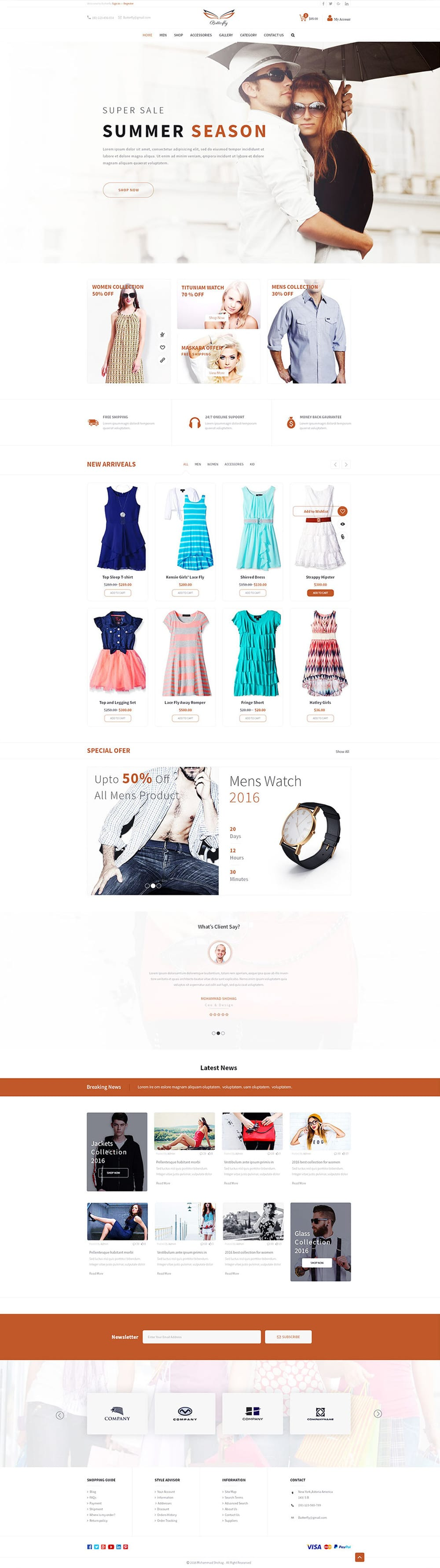 Free Fashion E commerce Template PSD