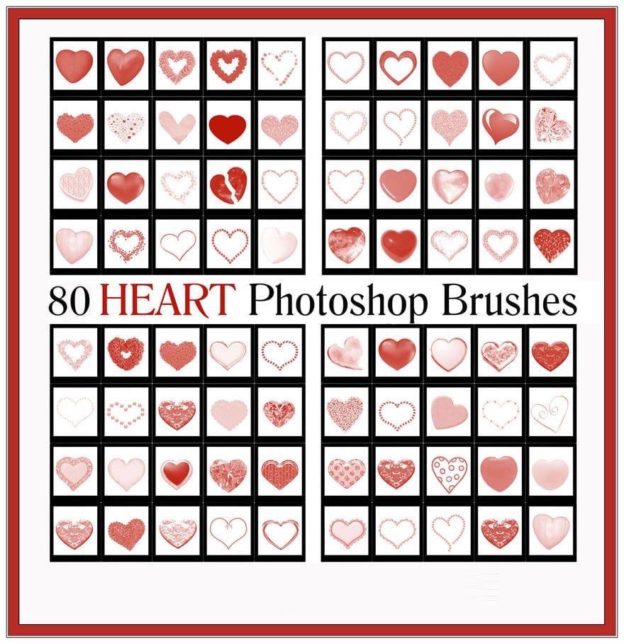 Free High Quality Heart Photoshop Brushes