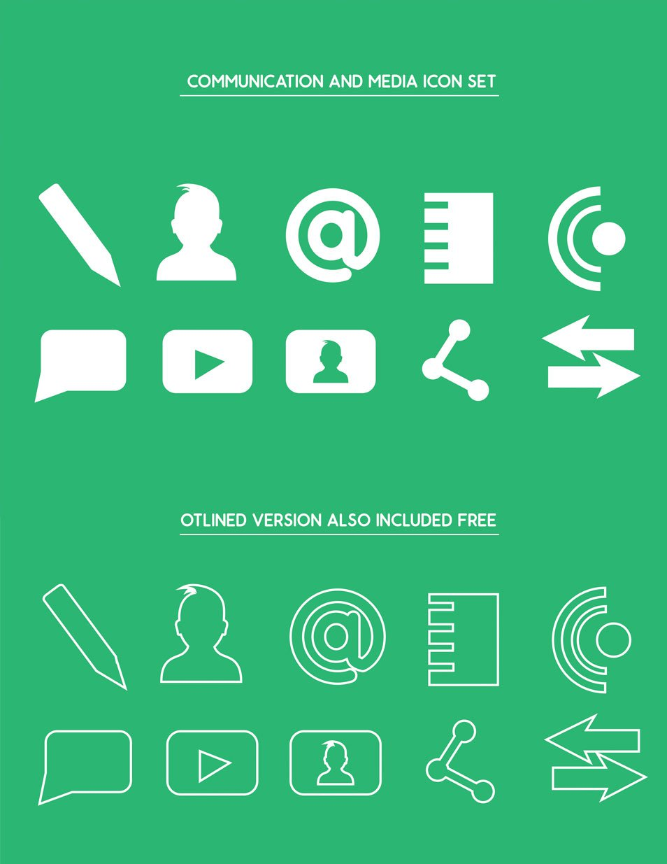 Free Media and Communication Icons Set Vector