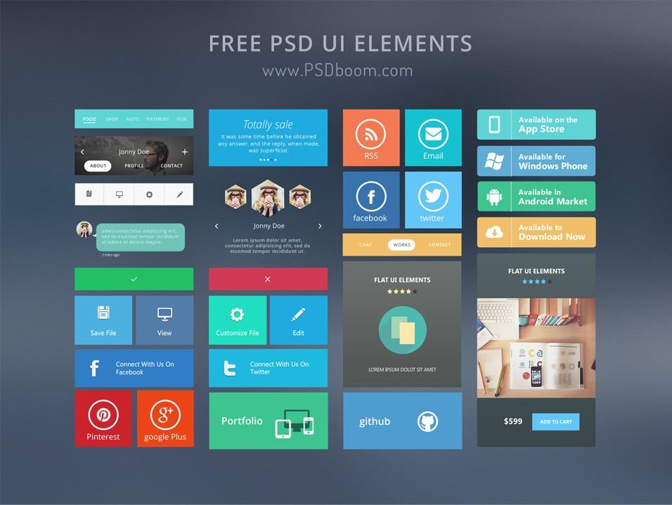 Free Modern UI Kit PSD