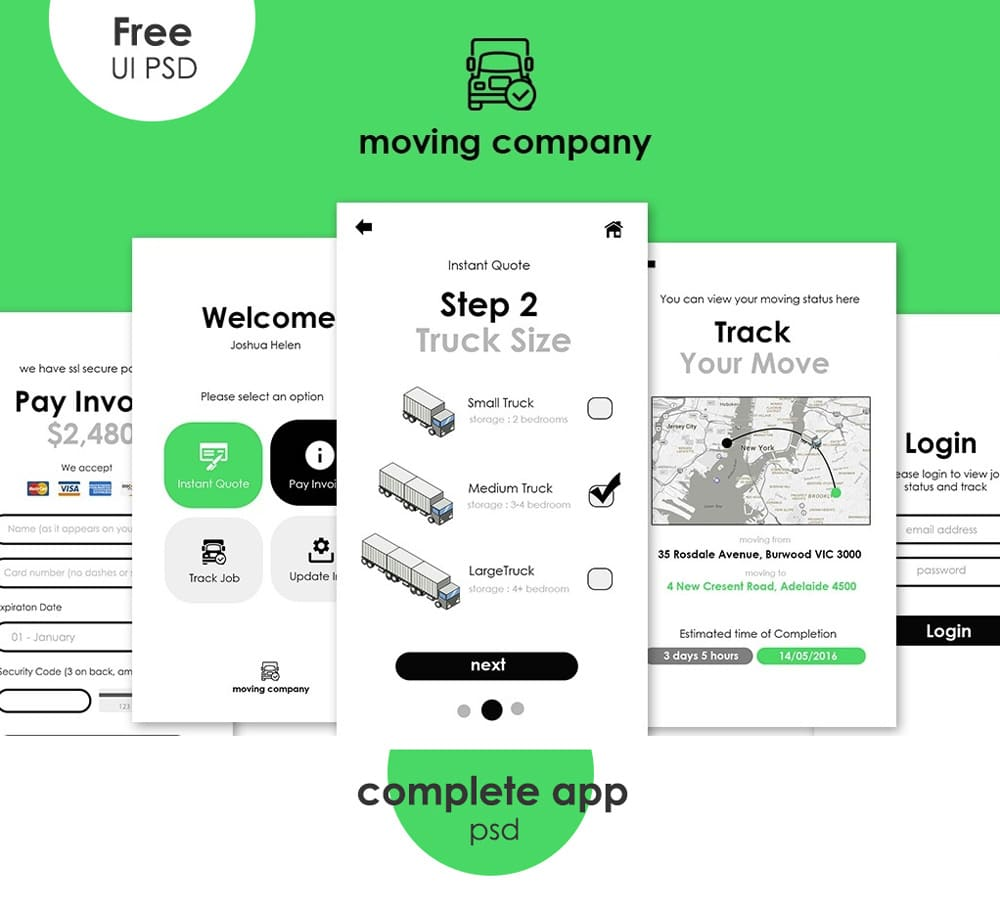 Free Moving App UI Template PSD